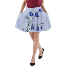 Floral Blue Bluebell Flowers Watercolor Painting A Line Pocket Skirt