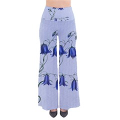 Floral Blue Bluebell Flowers Watercolor Painting Pants