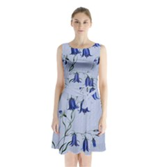 Floral Blue Bluebell Flowers Watercolor Painting Sleeveless Chiffon Waist Tie Dress