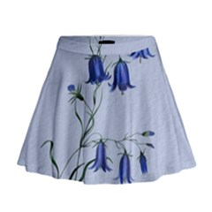 Floral Blue Bluebell Flowers Watercolor Painting Mini Flare Skirt