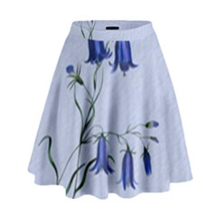 Floral Blue Bluebell Flowers Watercolor Painting High Waist Skirt