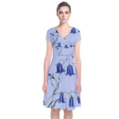 Floral Blue Bluebell Flowers Watercolor Painting Short Sleeve Front Wrap Dress