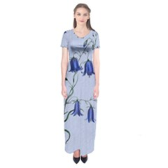 Floral Blue Bluebell Flowers Watercolor Painting Short Sleeve Maxi Dress