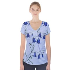 Floral Blue Bluebell Flowers Watercolor Painting Short Sleeve Front Detail Top