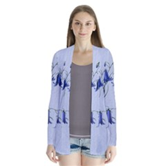 Floral Blue Bluebell Flowers Watercolor Painting Cardigans