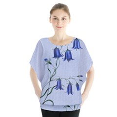 Floral Blue Bluebell Flowers Watercolor Painting Blouse