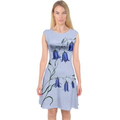 Floral Blue Bluebell Flowers Watercolor Painting Capsleeve Midi Dress
