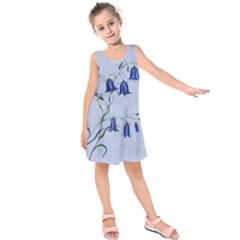 Floral Blue Bluebell Flowers Watercolor Painting Kids  Sleeveless Dress