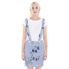 Floral Blue Bluebell Flowers Watercolor Painting Suspender Skirt