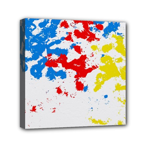 Paint Splatter Digitally Created Blue Red And Yellow Splattering Of Paint On A White Background Mini Canvas 6  x 6