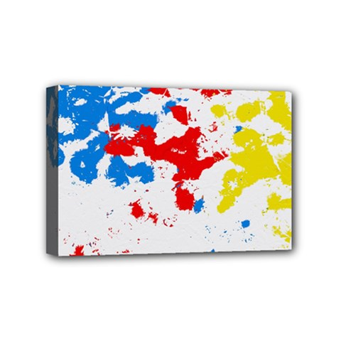 Paint Splatter Digitally Created Blue Red And Yellow Splattering Of Paint On A White Background Mini Canvas 6  x 4