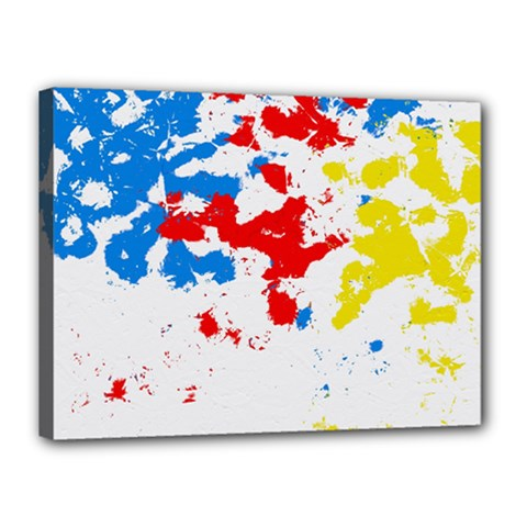 Paint Splatter Digitally Created Blue Red And Yellow Splattering Of Paint On A White Background Canvas 16  x 12