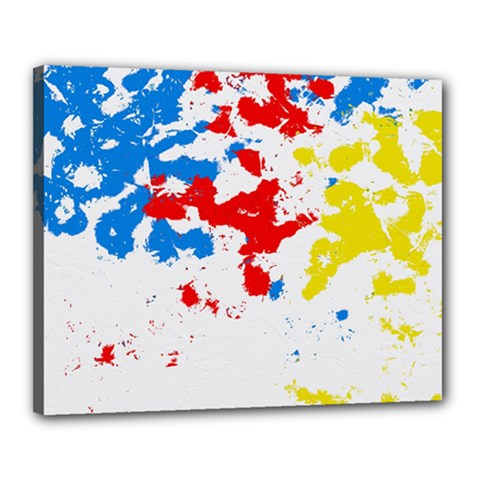 Paint Splatter Digitally Created Blue Red And Yellow Splattering Of Paint On A White Background Canvas 20  X 16