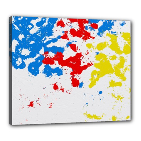 Paint Splatter Digitally Created Blue Red And Yellow Splattering Of Paint On A White Background Canvas 24  X 20