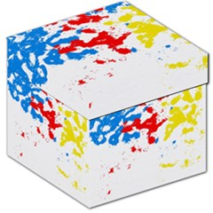 Paint Splatter Digitally Created Blue Red And Yellow Splattering Of Paint On A White Background Storage Stool 12