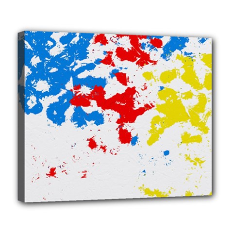Paint Splatter Digitally Created Blue Red And Yellow Splattering Of Paint On A White Background Deluxe Canvas 24  x 20