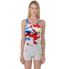 Paint Splatter Digitally Created Blue Red And Yellow Splattering Of Paint On A White Background One Piece Boyleg Swimsuit