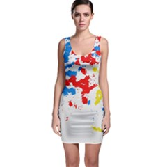 Paint Splatter Digitally Created Blue Red And Yellow Splattering Of Paint On A White Background Sleeveless Bodycon Dress