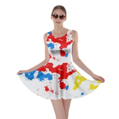 Paint Splatter Digitally Created Blue Red And Yellow Splattering Of Paint On A White Background Skater Dress