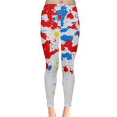 Paint Splatter Digitally Created Blue Red And Yellow Splattering Of Paint On A White Background Leggings