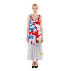 Paint Splatter Digitally Created Blue Red And Yellow Splattering Of Paint On A White Background Sleeveless Maxi Dress