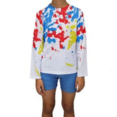 Paint Splatter Digitally Created Blue Red And Yellow Splattering Of Paint On A White Background Kids  Long Sleeve Swimwear