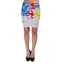 Paint Splatter Digitally Created Blue Red And Yellow Splattering Of Paint On A White Background Bodycon Skirt