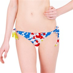 Paint Splatter Digitally Created Blue Red And Yellow Splattering Of Paint On A White Background Bikini Bottom