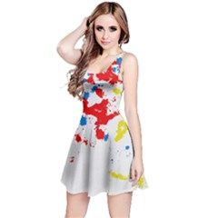 Paint Splatter Digitally Created Blue Red And Yellow Splattering Of Paint On A White Background Reversible Sleeveless Dress