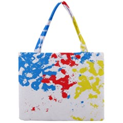 Paint Splatter Digitally Created Blue Red And Yellow Splattering Of Paint On A White Background Mini Tote Bag
