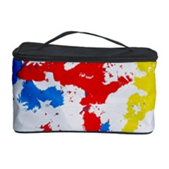 Paint Splatter Digitally Created Blue Red And Yellow Splattering Of Paint On A White Background Cosmetic Storage Case