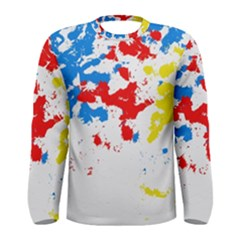 Paint Splatter Digitally Created Blue Red And Yellow Splattering Of Paint On A White Background Men s Long Sleeve Tee