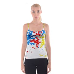 Paint Splatter Digitally Created Blue Red And Yellow Splattering Of Paint On A White Background Spaghetti Strap Top