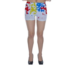 Paint Splatter Digitally Created Blue Red And Yellow Splattering Of Paint On A White Background Skinny Shorts