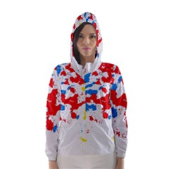 Paint Splatter Digitally Created Blue Red And Yellow Splattering Of Paint On A White Background Hooded Wind Breaker (women)