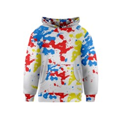 Paint Splatter Digitally Created Blue Red And Yellow Splattering Of Paint On A White Background Kids  Pullover Hoodie
