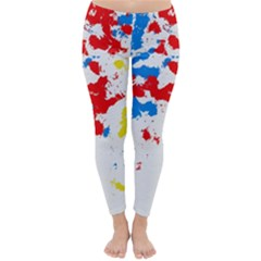Paint Splatter Digitally Created Blue Red And Yellow Splattering Of Paint On A White Background Classic Winter Leggings