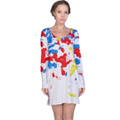 Paint Splatter Digitally Created Blue Red And Yellow Splattering Of Paint On A White Background Long Sleeve Nightdress