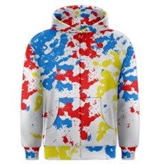Paint Splatter Digitally Created Blue Red And Yellow Splattering Of Paint On A White Background Men s Zipper Hoodie