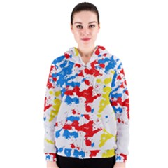 Paint Splatter Digitally Created Blue Red And Yellow Splattering Of Paint On A White Background Women s Zipper Hoodie