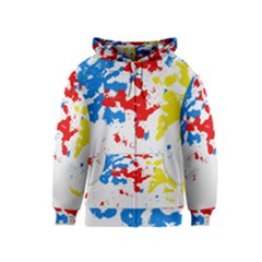 Paint Splatter Digitally Created Blue Red And Yellow Splattering Of Paint On A White Background Kids  Zipper Hoodie