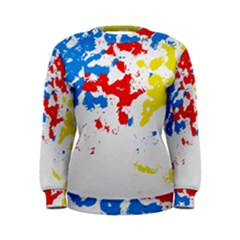 Paint Splatter Digitally Created Blue Red And Yellow Splattering Of Paint On A White Background Women s Sweatshirt