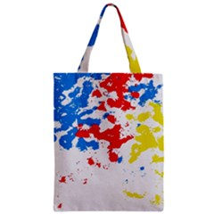 Paint Splatter Digitally Created Blue Red And Yellow Splattering Of Paint On A White Background Zipper Classic Tote Bag