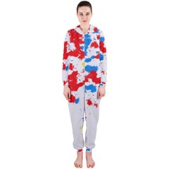 Paint Splatter Digitally Created Blue Red And Yellow Splattering Of Paint On A White Background Hooded Jumpsuit (Ladies)