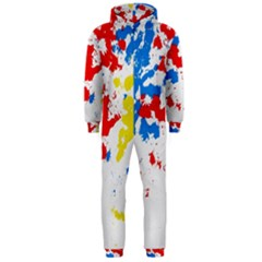 Paint Splatter Digitally Created Blue Red And Yellow Splattering Of Paint On A White Background Hooded Jumpsuit (men)