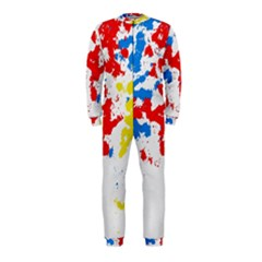 Paint Splatter Digitally Created Blue Red And Yellow Splattering Of Paint On A White Background OnePiece Jumpsuit (Kids)