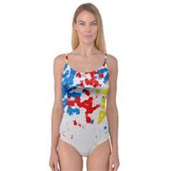 Paint Splatter Digitally Created Blue Red And Yellow Splattering Of Paint On A White Background Camisole Leotard