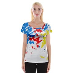 Paint Splatter Digitally Created Blue Red And Yellow Splattering Of Paint On A White Background Women s Cap Sleeve Top