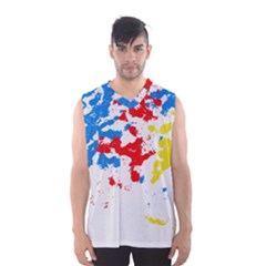 Paint Splatter Digitally Created Blue Red And Yellow Splattering Of Paint On A White Background Men s Basketball Tank Top