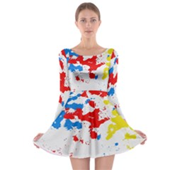 Paint Splatter Digitally Created Blue Red And Yellow Splattering Of Paint On A White Background Long Sleeve Skater Dress